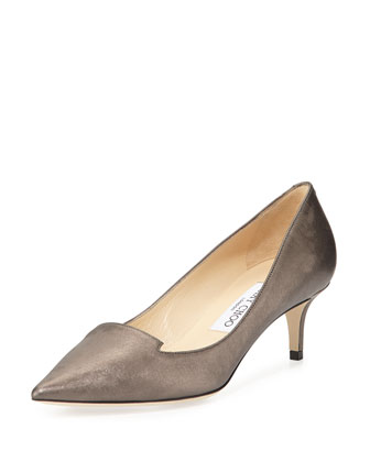 Allure Shimmery Leather Pump, Mist
