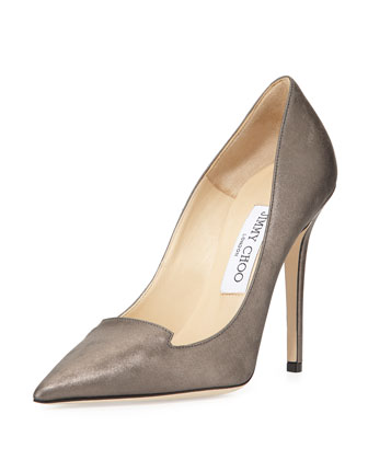Ari Shimmery Leather Pump, Mist