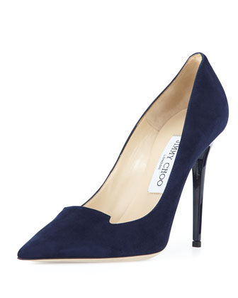Ari Suede 110mm Pump, Navy