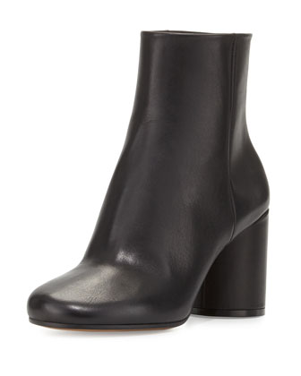 Leather Cone-Heel Ankle Boot, Black