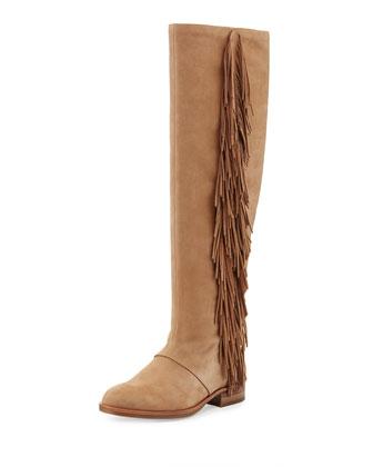 Josephine Fringed Knee Boot, Camel