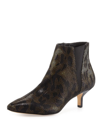 Greeo Printed Leather Bootie, Black/Natural