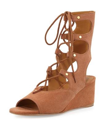 Suede Gladiator Wedge Sandal, Camel