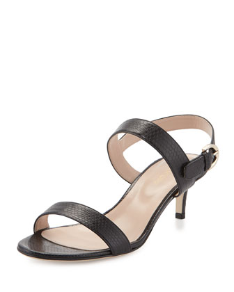 Embossed Leather Sandal, Black