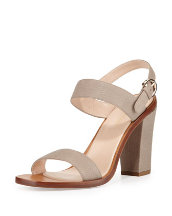 Embossed-Leather Slingback Sandal, Stone