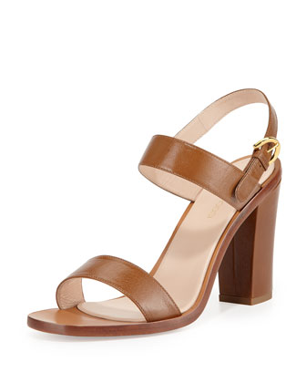 Leather Slingback Sandal, Bronze