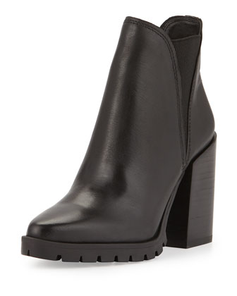 Cammie Leather Ankle Bootie, Black