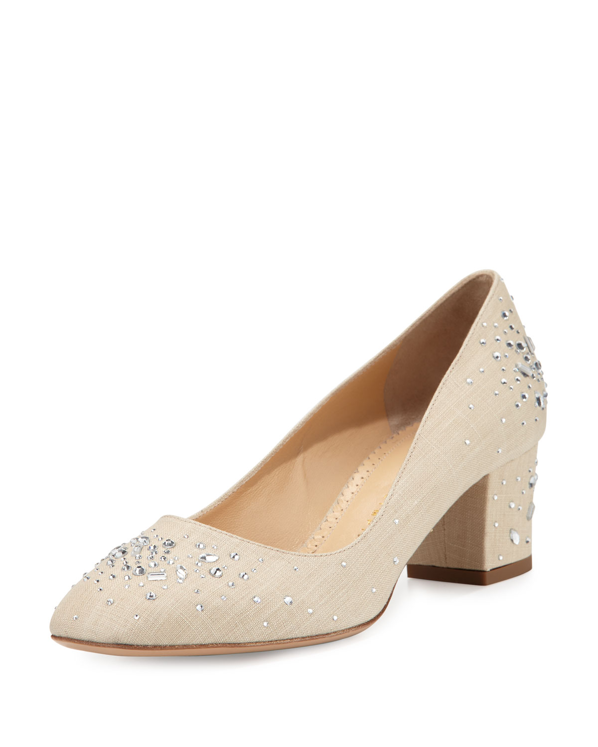 Low-Heel Jeweled Linen Pump, Natural, Size: 35.0B/5.0B - Charlotte Olympia