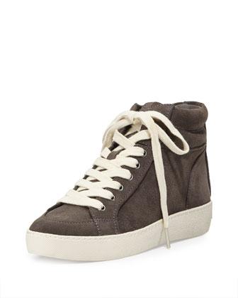Britt Suede High-Top Sneaker, Steel Gray