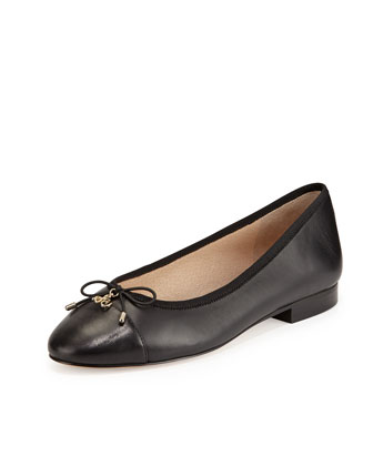 Sara Cap-Toe Ballerina Flat, Black