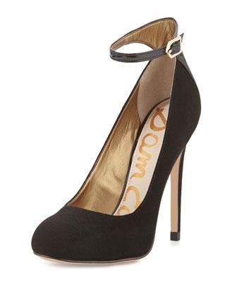 Ciara Suede Ankle-Strap Pump, Black