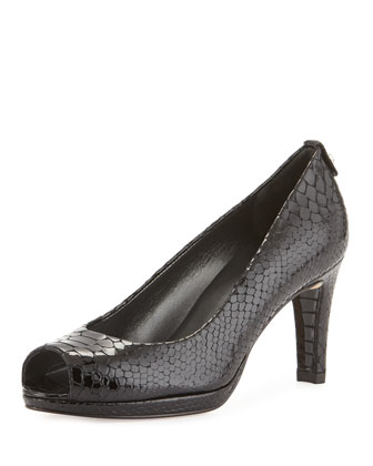 Logoplainfield Snake-Print Pump, Black Crystal