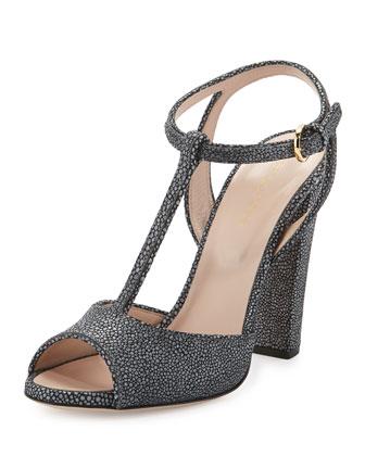 Textured-Leather T-Strap Sandal, Zinc