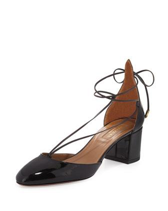 Alexa Patent Mid-Heel Pump, Black