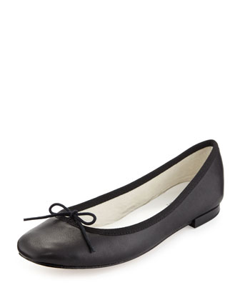 Cendrillon Leather Ballerina Flat, Noir