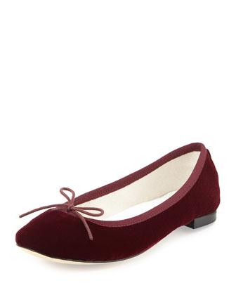Cendrillon Velvet Ballerina Flat, Galop Burgundy