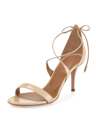 Linda Patent Leather Sandal, Nude