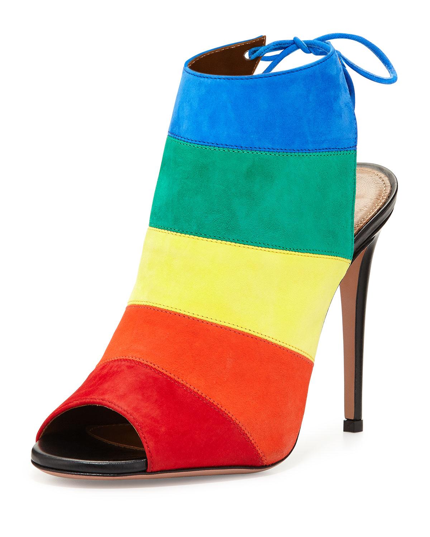 Rainbow Striped Suede Sandal, Multi, Size: 35.0B/5.0B - Aquazzura