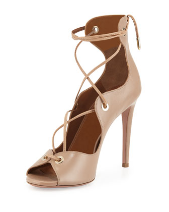 Tango Curvy Lace-Up Sandal, Biscotto
