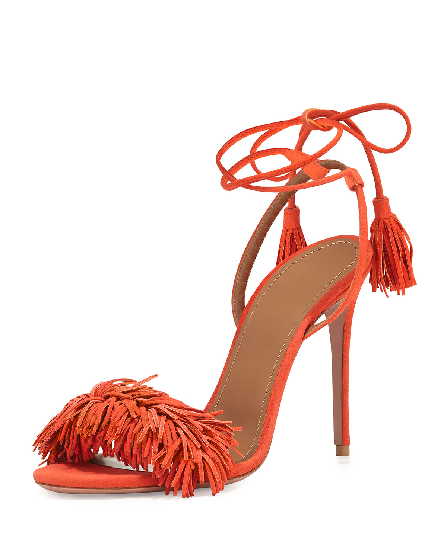 Wild Thing Suede Sandal, Clementine, Size: 35.0B/5.0B - Aquazzura