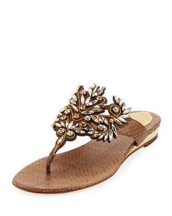 Crystal-Embellished Snakeskin Sandal, Beige