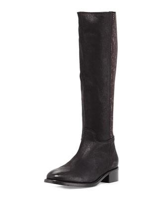 Alaina Snake-Print Knee Boot, Black