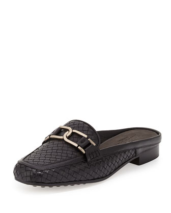 Margret Woven Leather Mule, Black