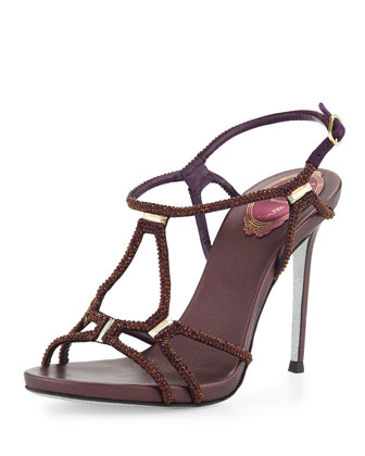Crystal-Embellished Strappy Sandal, Purple