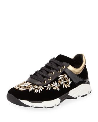 Crystal Velvet Lace-Up Sneaker, Black/Gold