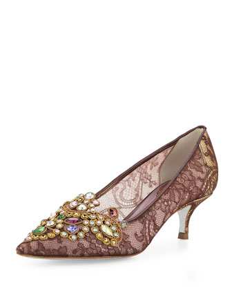 Embroidered Crystal Lace Pump, Purple