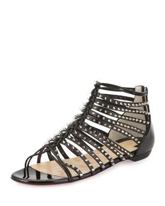 Millaclous Studded Caged Red Sole Sandal, Black/Silver