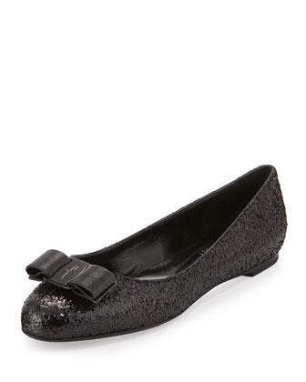 Varina Glittered Bow Ballerina Flat, Black (Nero)