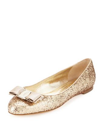 Varina Glittered Bow Ballerina Flat, Gold (Oro)