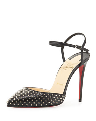 Biala Spike Leather Red Sole Pump, Black