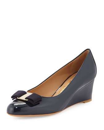 Mirabel Patent Bow Wedge Pump, Oxford Blue
