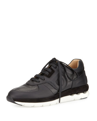 Morgan Pebbled Leather Sneaker, Black (Nero)