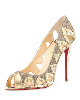 Pinder City Spiked Red Sole Pump, Gold