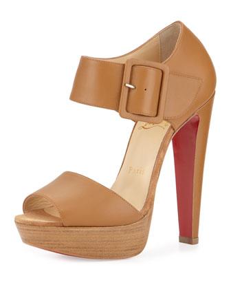 Haute Retene 140mm Leather Red Sole Sandal, Noisette