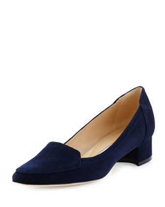 Carlisa Suede Loafer Pump, Navy