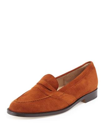 Consulta Suede Loafer Flat, Cognac, Cognac