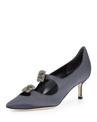 Sirius Cutout Crystal-Buckle Satin Pump, Gray