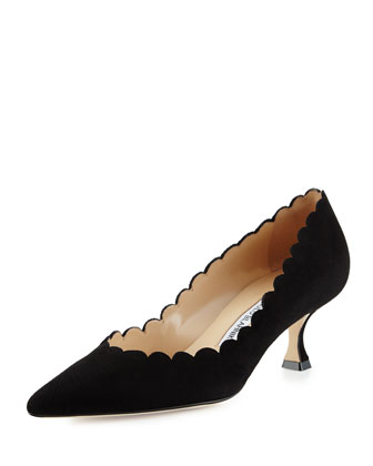 Srilasca Scalloped Suede Pump, Black