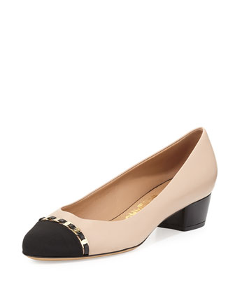 Pim Cap-Toe Low Heel Pump, New Bisque/Nero