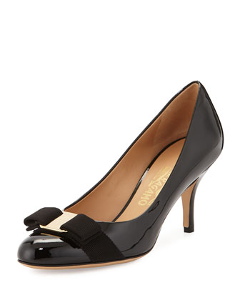 Carla Patent Bow Pump, Black