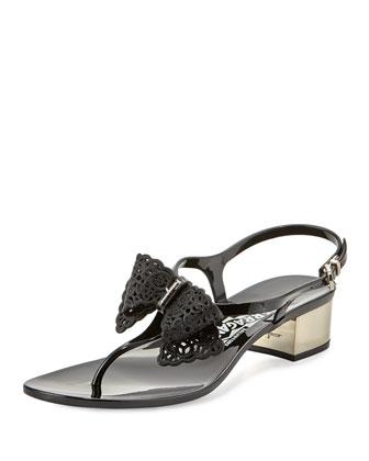 Perala PVC Bow Thong Block-Heel Sandal