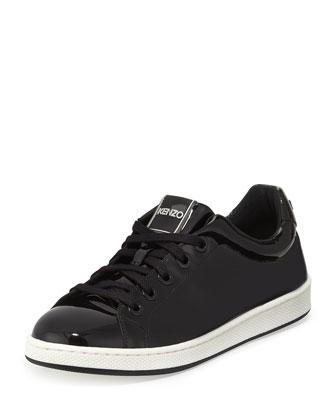 Patent Low-Top Sneaker, Black