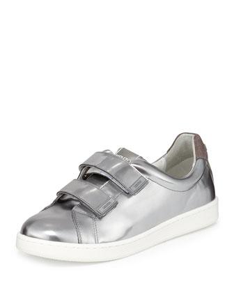 Mirror Grip-Strap Leather Sneaker, Argent