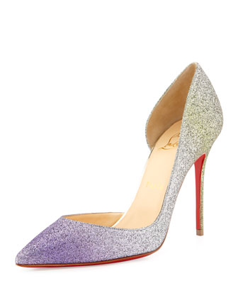Iriza Degrade Glitter Red Sole Pump, Drage/Light Gold