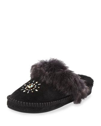 Aira Crystal Toscana Fur Slipper, Black