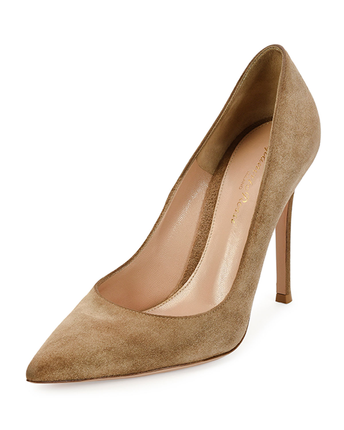 Suede Point-Toe 105mm Pump, Bisque - Gianvito Rossi